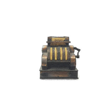 Vintage Die Cast Miniature Cash Register, Durham Industries, No. 5401, Copper Tone Metal, Made in Hong Kong, Vintage Dollhouse Furniture