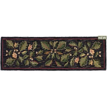 "Acorns & Leaves Hooked Wool Runner 30""W X 8""D"