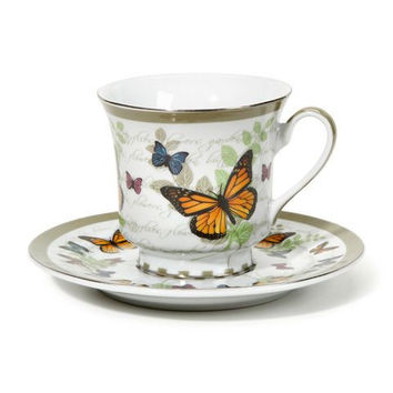 Butterfly Discount Tea Cups and Saucers - Set of 6 Cheap Price!