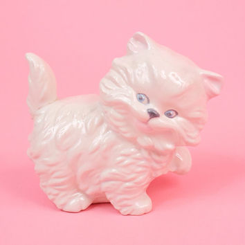 Vintage White Kitten Figurine Cute Adorable Baby Nursery