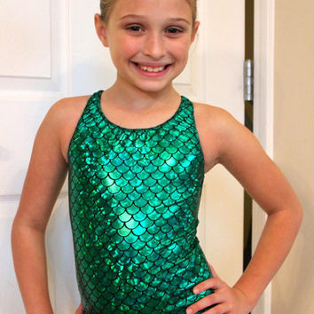 Mermaid Gymnastics Leotard or Swimsuit 2t, 3t, 4t, 5t, 6,7,8,9,10,11,12,13, 14