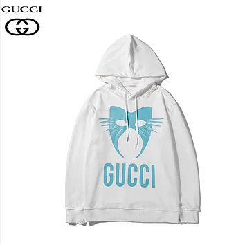 GUCCI Fashion New Letter Mask Print Women Men Hooded Long Sleeve Sweater White