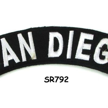 San Diego White on Black Small Rocker Iron on Patches for Biker Vest and Jacket