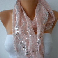 Pink Lace Sequin  Scarf    Headband Necklace Cowl with by fatwoman/92557810