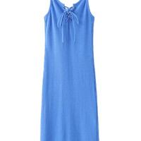Blue V-Neck Lace Up Front Ribbed Bodycon Cami Dress