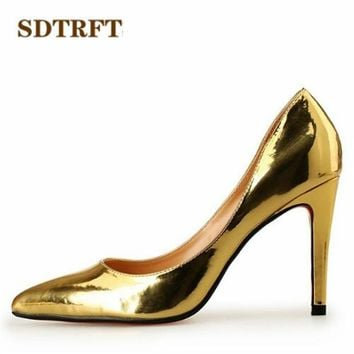 SDTRFT Plus:45 46 47 48 Spring/Autumn Stilettos 10cm thin heels sexy Patent Leather red Nightclub pumps women Pointed Toe shoes