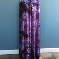 Size Lg, Tie Dye Maxi Skirt in Purple Grey and Black, Hippie Skirt, Bohemian Skirt, Strapless Dress