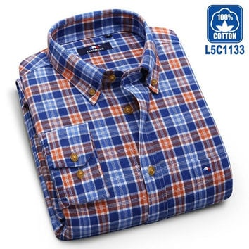 Long Sleeve Plaid Flannel Men Casual Shirts Slim Fit
