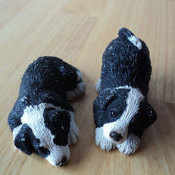 Puppy Dog Figurines Pair of Dog Statues Miniature Black White Dog Set Signed Sandra Brue Sleeping Dog and Dog at Play Stocking Stuffer
