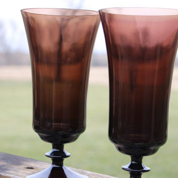 2 vintage tall brown parfait glasses, retro brown glass perfect for your bar cart, wedding toasting, retro chic glassware, vintage glassware