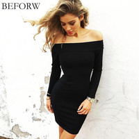 BEFORW Women Sexy Dress Fashion The Word Shoulder Summer Autumn Dress Vestidos Plus Size Women Clothing White Black Dresses