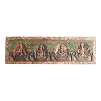 18th Century Asian Antique Hand Carved Buddha Ganesha Headboard