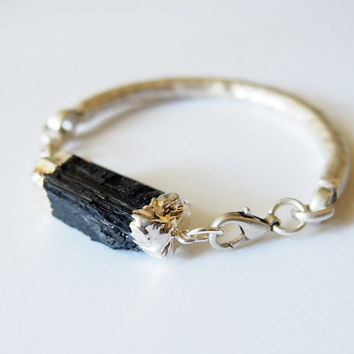 Black Gemstone Bracelet Healing Stone Raw Black Tourmaline Oxidized Silver Chain Bracelet Statement Bracelet