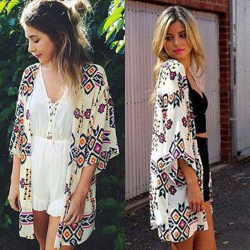 Chiffon kaftan Bikini Cover UP Beach Dress Swimwear kimono Cardigan