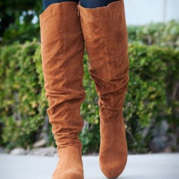 DbDk Quintus-01 Over The Knee Flat Suede Slouchy Boot (Camel) - Shoes 4 U Las Vegas