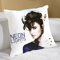 Demi Lovato Neon Lights in cotton applique - Decorative cushion cover- Spring Throw pillow 18x18 22x22