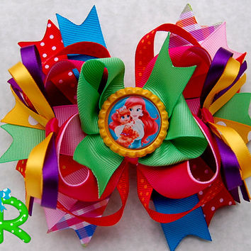 Palace Pets ott bow, Ariel hair bow  for girls, stacked boutique bow, princess layered bow