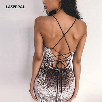 LASPERAL 2018 New Lace Up Velvet Party Dress Women Dress Backless Sexy Dress Retro Dress Pencil Skater Bodycon Evening Vestidos