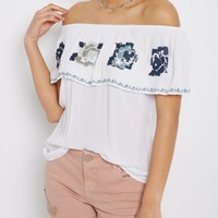 Embroidered Floral Flounce Off-Shoulder Top | Cold Shoulder | rue21