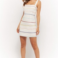 Embroidered Multi-Stripe Dress