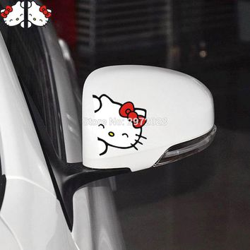 2 x Funny Car Styling Hello Kitty Peeking Car Rearview Mirrors The Whole Body Decoration Stickers Waterproof Pattern Vinyl Decal