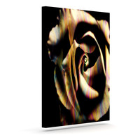 "Ingrid Beddoes ""Rose Swirl"" Rainbow Black Outdoor Canvas Wall Art"