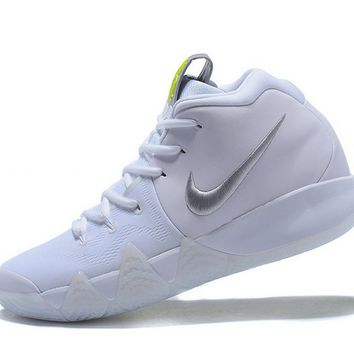 My style Kyrie IV Nike Mens Basketball Shoes White-SiLVSer Pure Platinum-Volt Brand sneaker