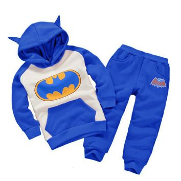 Toddler Boys Children Clothing Set 2018 Autumn Winter Baby Girls Clothes Batman Hooded+Pant Kids Sports Suit For Boys Clothes