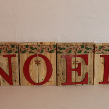 Christmas Holiday Red Noel Letters refurbished pallet wood Decor Mantle Sign