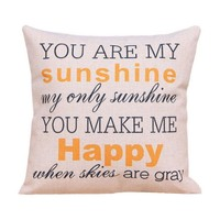"Onker Cotton Linen Square Decorative Throw Pillow Case Cushion Cover 18"" x 18"" You Are My Sunshine"