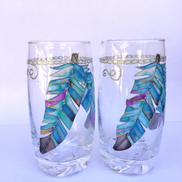 Wine/ water glasses. Colorful feathers. Set of 2. Hand painted glasses. Boho style.
