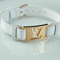 Louis Vuitton Inspired Leather Bracelet, White Leather