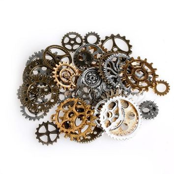 Mix Alloy Mechanical Steampunk Cogs & Gears Pack DIY Pendant Jewelry Craft 50g