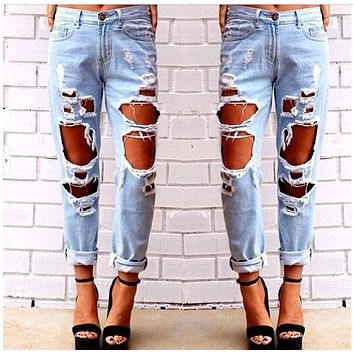 2015 Brand fashion Ripped jeans  for Women  Big hole Capris Vintage Bf jeans pants Summer loose fitting  straight denim pants