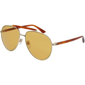 Gucci GG0014S 004 Gold Brown Frame / Brown Lenses