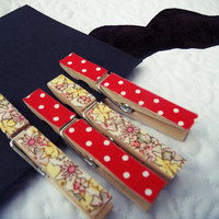 decorated clothes pegs  floral / polka dot  set of 4  by MrTeacup