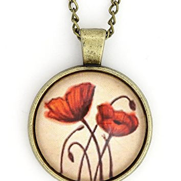 Red Poppy Flower Art Necklace Vintage Gold Tone NW40 Floral Cabochon Art Pendant Fashion Jewelry