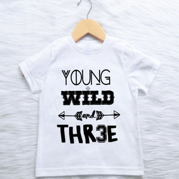 CUSTOMIZABLE COLORS Young Wild Three 3rd Third Birthday Shirt Tee T Boys Arrow Teepee