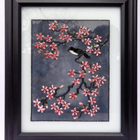 "Cherry blossom art 12""x10"" Glass painting Wall decor Painted glass"