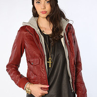 Obey Jacket Jealous Lover Faux Leather Bomber Burgundy