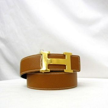 Hermes Constance Made In 1997 Engraved A Leather Belt Black,Brown,Gold Auth