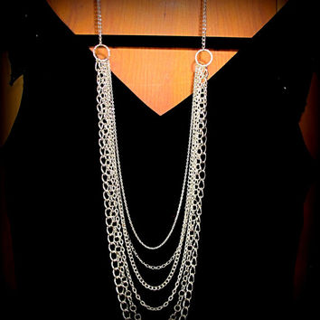 LONG and Dramatic  Chains Necklace in Silver