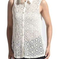 Floral Crochet Button Down Eyelet Sheer Tank Top