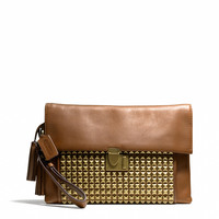 legacy lock clutch in studded leather