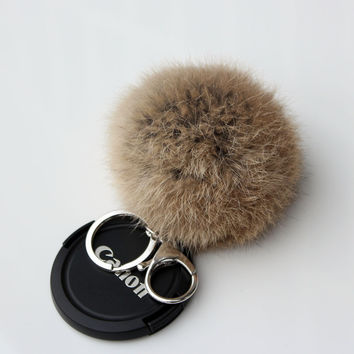 Rabbit Fur Pom Pom Silver Plated Keychain