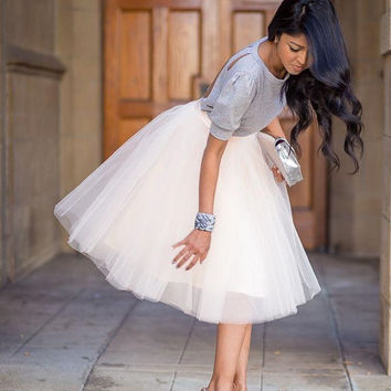 Clarisa 7-Layered Tulle Puffy Princess Knee-Length Tutu Skirt