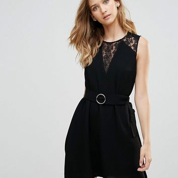 French Connection Hennesy Lace Insert A-Line Dress at asos.com