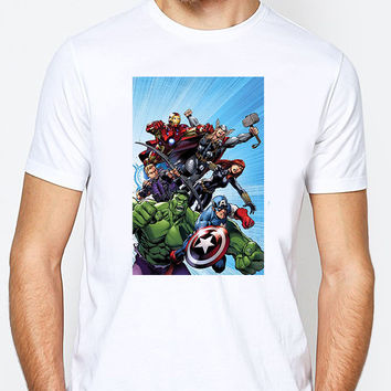 Marvel Avengers Comic Battle Mens T-shirt Black and White