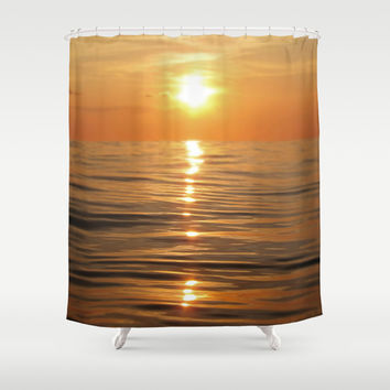 Sun setting over calm waters Shower Curtain by Nicklas Gustafsson