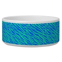 Bright Blue and Neon Green Zebra Striped Dog Water Bowl